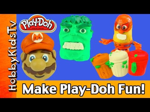 Make Play-doh Hulk Mario Mr Potatohead Hello Kitty Snow Man Hobbykidstv video