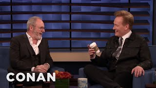 "Liam Cunningham Brought Conan The Infamous Coffee Cup From ""Game Of Thrones"" - CONAN on TBS"