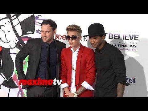 Justin Bieber, Usher, Scooter Braun At Justin Bieber's believe World Premiere Arrivals video