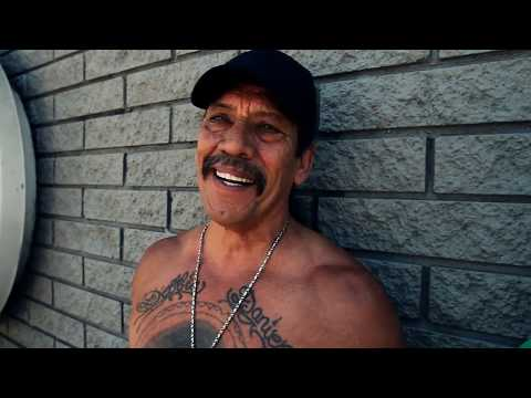 Danny Trejo aka Machete lowriding with Mister Cartoon.