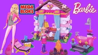 Mega Bloks Barbie Build N Play Glam Cabin with Barbie Doll -Barbie on holiday