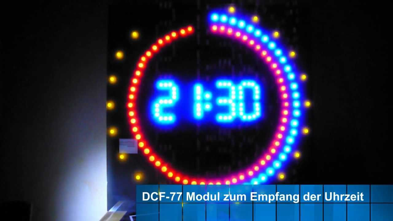 selbstbau led uhr aus 230 leds youtube. Black Bedroom Furniture Sets. Home Design Ideas
