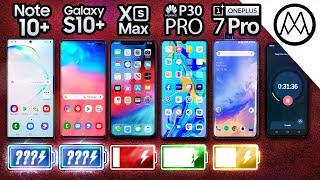 Samsung Note 10 Plus vs S10 Plus / iPhone XS Max / P30 Pro / OnePlus 7 Pro Battery Life DRAIN TEST