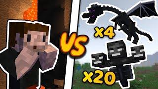 ZIO vs 21 WITHERÓW (i 4 smoki) - Minecraft Caveblock 2.0
