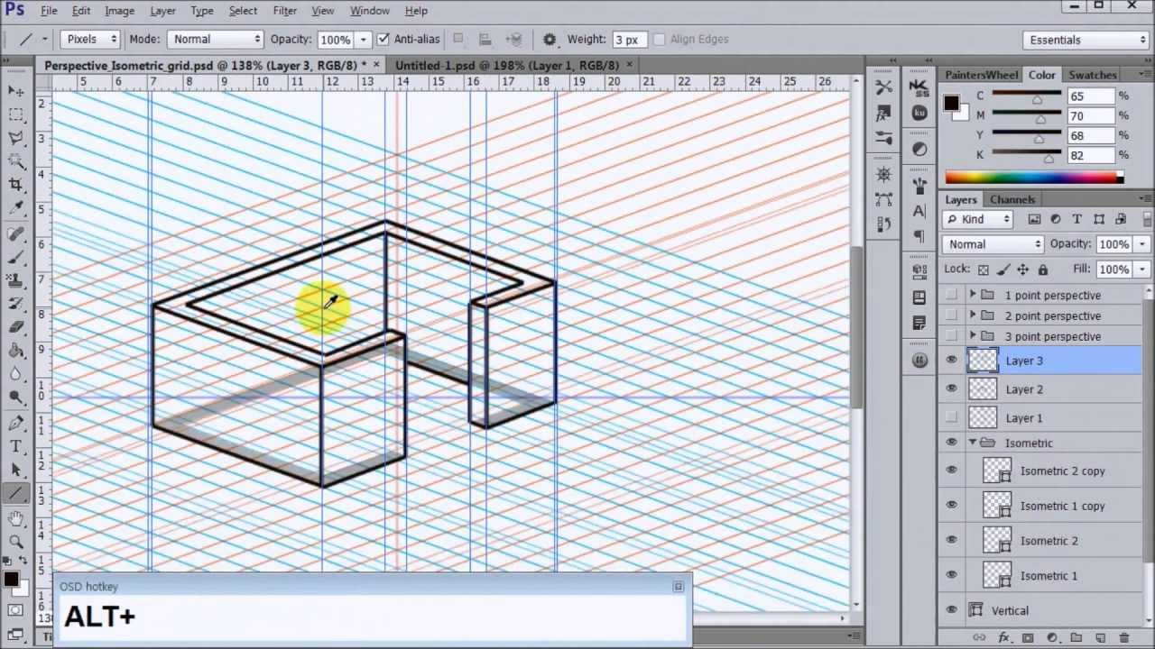 Photoshop Perspective+Isometric shapes(Download) - YouTube