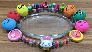 MIXING MAKEUP AND GLITTER INTO CLEAR SLIME!!! RELAXING SLIME WITH FUNNY BALLOONS