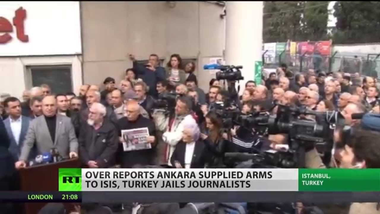 "Journalists arrested in ""a trial seen as Erdoğan's vendetta to a report on arms smuggling"""