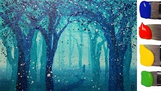 Рисуем волшебный ЛЕС акрилом / How to paint a magic forest with acrylic