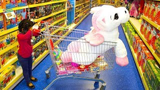 Funny Baby Doing shopping Supermarket Pretend play toys for Children Kids video