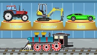 Vehicles for Kids - Excavator Mini & Tractor & Car & Train | Construction Machinery | music for kids