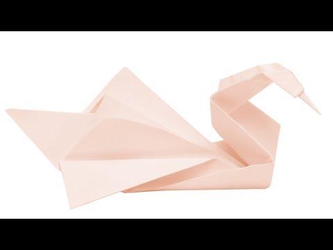 Origami Kranich falten - Schwan aus Papier basteln - Origami Tiere
