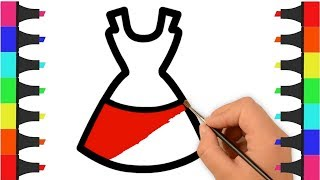 Girls Dress Coloring Pages for Kids – Dress Coloring Video – How to Draw and Color Girls Dress