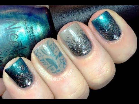mystical nails  glitter gradient  konad stamping nail