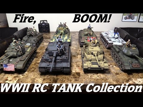 RC TANKS! WWII RC Tank Collection! Panzer IV, King Tiger, T-34, Sherman, T-34, KV1, Etc..
