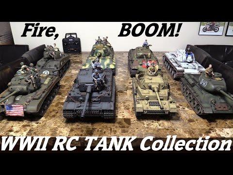 RC TANKS! WWII RC Tank Collection! Panzer IV, King Tiger, T-34, Sherman, T-34, KV1, Etc..