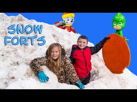 Assistant and Batboy Build Snow Forts and Find PJ Masks Toys