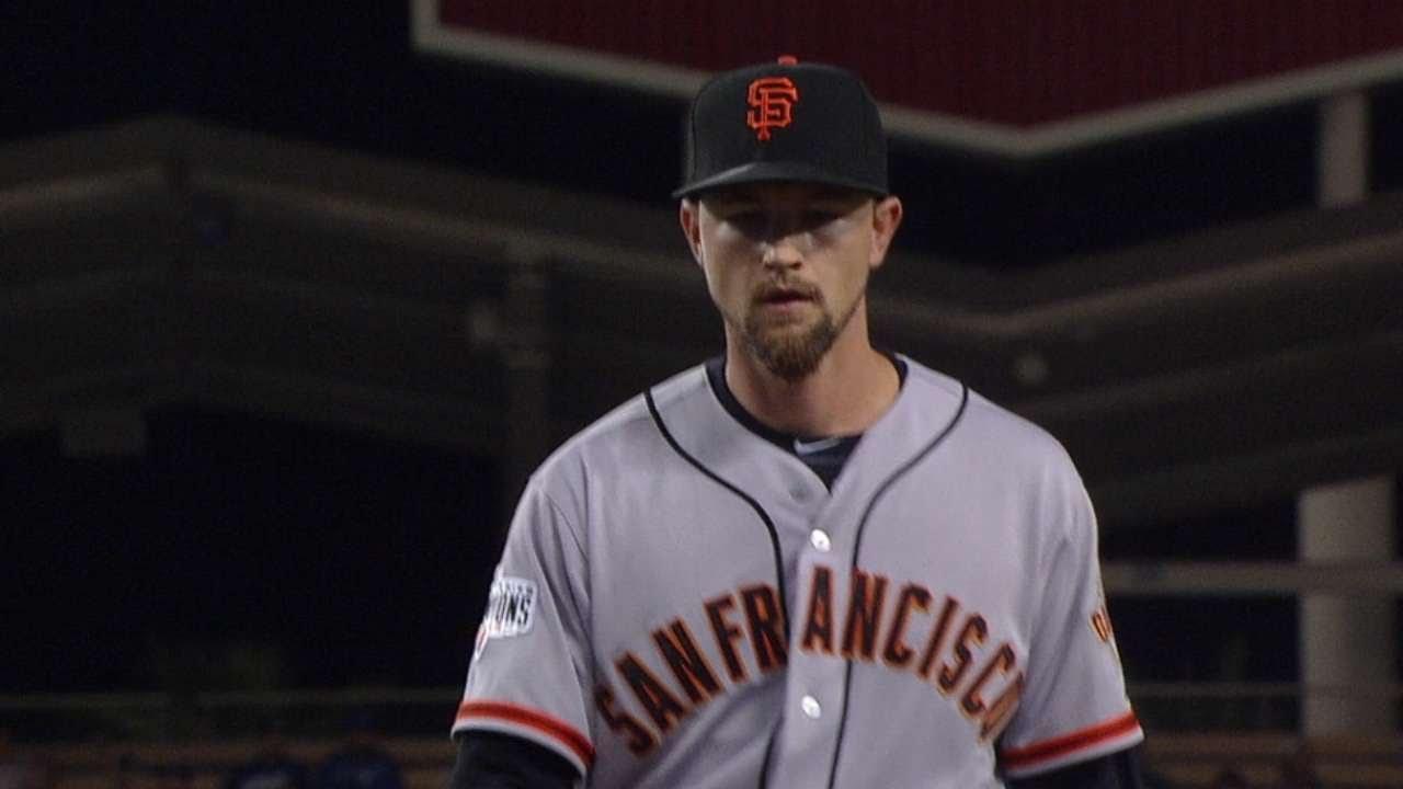 SF@LAD: Leake tosses seven innings of two-run ball