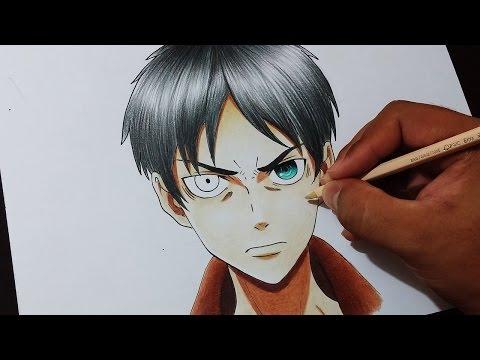 Como Desenhar e Colorir o Eren Eren Yeager (Shingeki no Kyojin) How to draw Eren Yeager