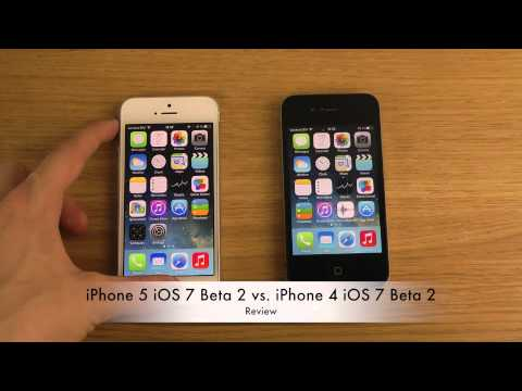iPhone 5 iOS 7 Beta 2 vs. iPhone 4 iOS 7 Beta 2   Review