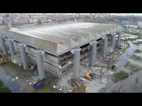 Abdi İpekçi Spor Salonu'nda Yıkım Çalışması Havadan Görüntülendi