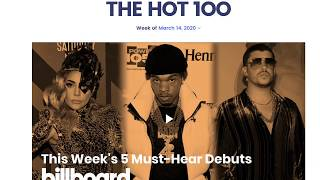 Billboard Hot 100 Top 10 Songs of the Week March 21st, 2020