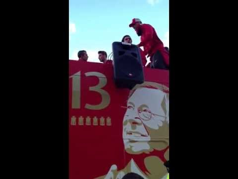 Man Utd bus parade 2013 Old Trafford SAF speech and Rio Ferdinand singing.