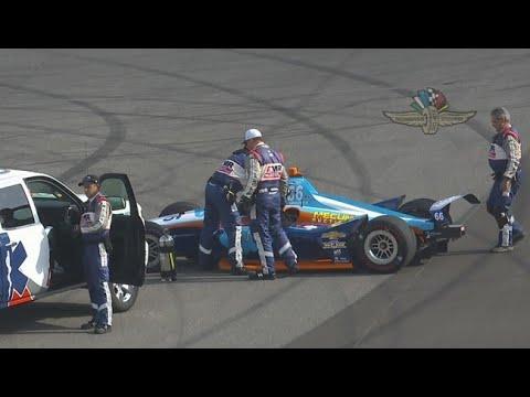 JR Hildebrand crashes into Turn 3 wall
