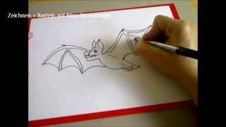Vampirfledermaus für Halloween zeichnen .    How to Draw Halloween Bats