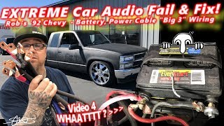 "Extreme Car Audio FAIL & Fix - ""Bucket o' BASS"" Chevy - Battery, Power Cable, & Door Panels Video 4"