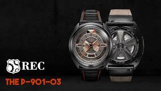 REC Porsche Automatic Black Leather Strap Grey Dial Product code: P-901-03