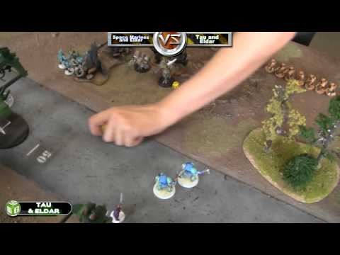Space Marines/Eldar vs Tau/Eldar Warhammer 40k Battle Report - Beat The Cooler Ep 46 - Part 2/3