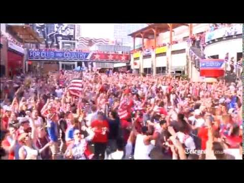USA football fans celebrate 2-1 win over Ghana