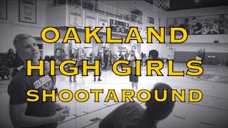 Klay and Steph Curry visit w/ Oakland HS varsity girls (state champions) at morning shootaround