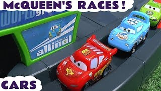 Disney Cars Toys McQueen races with other Cars 3 and Hot Wheels superhero cars TT4U