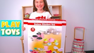 Kids cooking & playing with kitchen toys