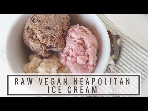 Raw Vegan Neapolitan ICE CREAM Recipe!!!   Strawberry, Vanilla, Chocolate