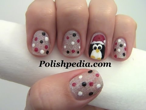 Penguin Christmas Nail Art