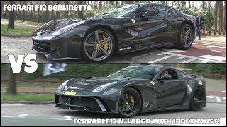 STOCK Ferrari F12 Berlinetta vs. Ferrari F12 N-Largo with iPE Exhaust!