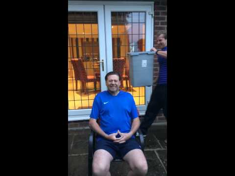 Chris Waddle completing his ice bucket challenge for ALS