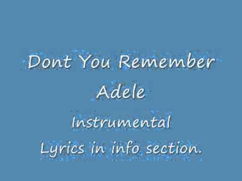 dont you remember instrumental Adele