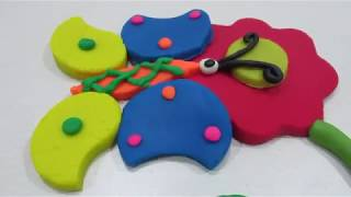 Learn colors with play doh videos, how to make rainbow colors with clay doh Butterfly