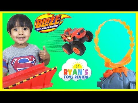 Blaze the Monster Machine Flaming Volcano Jump Playset Slam and Crash Zeg Toy Cars