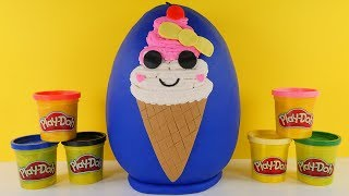 Ice Cream Play Doh Egg Surprise Toys Squeezie DIY Slow Rise Squishy and Surprise Toys and Blind Bags