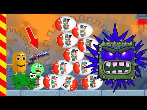 Киндер Сюрприз - мультик игра. Живая капсула напала на страшный квадрат. Красный шарик спасен
