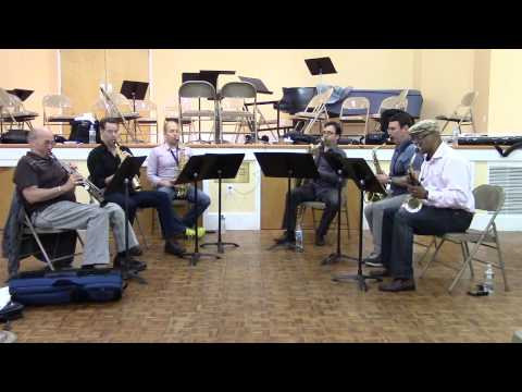 PRISM Quartet, David Liebman, and Greg Osby rehearsing Osby's