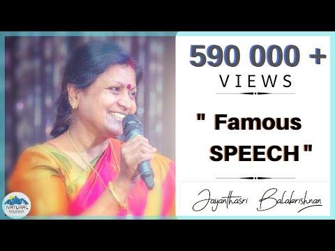 Prof.Jayanthisri Balakrishnan FAMOUS speech | 2016