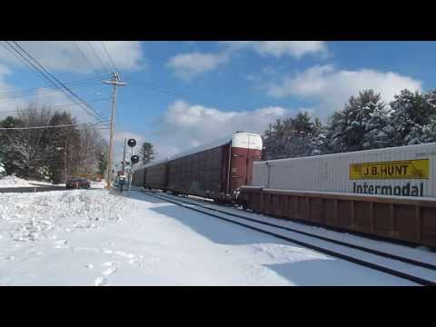 Norfolk Southern 205 in Shirley, MA with NS 1074 Lackawanna Heritage Unit!! 1-19-14
