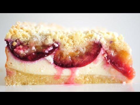 Простой пирог со сливами и творогом / Королевская ватрушка со сливами