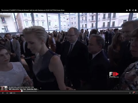"""The Arrival of """"ALBERT II Prince de Monaco"""" with his wife Charlene at LOUIS VUITTON Cruise Show"""