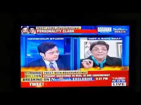 Kiran Bedi run away from LiVE interview-Times Now
